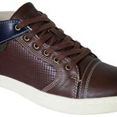демисезонные мужские кеды ботинки Код: AB A5549 black/brown