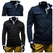 стеганая мужская осенняя синяя и черная куртка