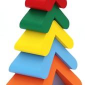 Пирамидка «Цветная елочка», Komarovtoys