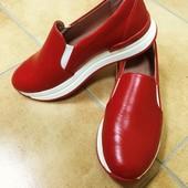 Красные кожаные слипы( мокасины)