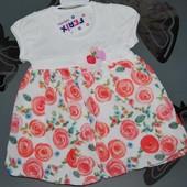 Платье розы шифон 6-9 месяцев