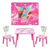 Cтолик и два стульчика Винкс, Winx W02-5155 для девочки, розовый, феи. Доставка
