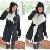 Пуховик,пальто ,плащ женский с мехом зимний