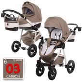 Универсальная коляска Tako Baby Heaven Carbon 3, песочный+белый (эко-кожа)