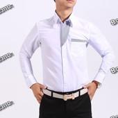 Белая рубашка с отделкой в полосочку