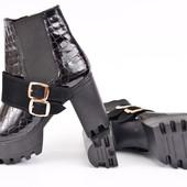 Ботинки женские кожа рептилия