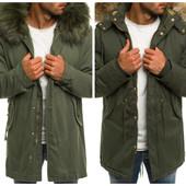 Мужская зимняя оливковая куртка парка