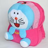 детский рюкзак с плюшевой игрушкой кролик розовый