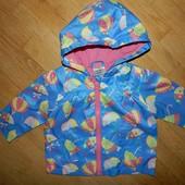 Baby прикольная куртка-ветровка-дождевик на коттоновой подкладке на девочку