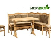 Кухонный уголок + стол + стулья из натурального дерева, Кухонный уголок № 1