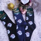 Мужские махровые новогодние носки, с новогодней тематикой