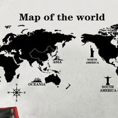 Виниловые наклейки на стену, интерьерные наклейки на стену, наклейка Карта мира