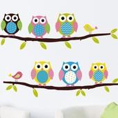Виниловые наклейки на стену, интерьерные наклейки, наклейки в детскую, совы на стену