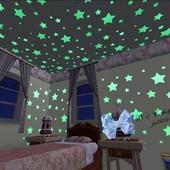 Светящиеся в темноте наклейки на стену и потолок Звездное небо 100 шт