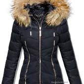 Куртка женская зимняя пуховик стёганый мех енота