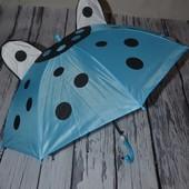 Зонтик зонт трость детский с ушками со свистком разные голубой желтый