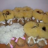 Тапочки-пинетки из натуральной овечьей шерсти для новорожденных