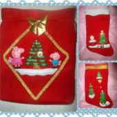 Новорічні та Різдвяні чобітки та мішечки( Пеппа, сніговички)!!!!Ручна робота! 1 на вибір. УП 12 грн.