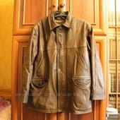 Теплая кожаная зимняя мужская куртка