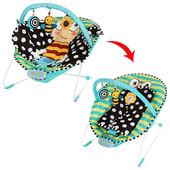 Шезлонг качалка M 2721 Бабочка с вибро режимом и одеяльцем детская