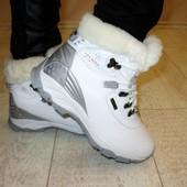 Ботинки зимние белые натуральная кожа С377