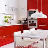 Красная глянцевая кухня Икеа, Ikea