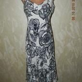 Сарафан лен с цветочным принтом