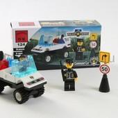 Конструктор Полиция 39 деталей, машина, человечек. Артикул 124