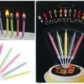 Свечи для торта с цветным пламенем набор из 5 шт. в наличии.