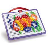 Quercetti кварчетти набор для занятий мозаикой (10 мм фишки,(140 шт)+ доска 22х16, переносной)