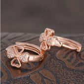 Серьги розовое золото 18 к, камни цирконий