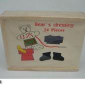 Деревянная шнуровка-одевалка мишка 2235-8 кулёк 20*16*4 сантиметров
