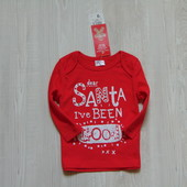 Новый рождественский реглан F&F для девочки, размер 0-3 месяца.