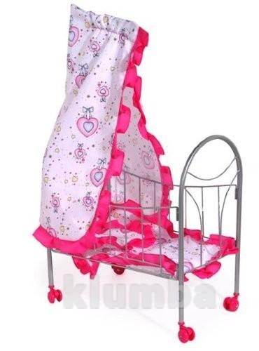 Кроватка для куклы на колесиках с балдахином фото №1