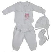 Детский крестильный комплект 4 предмета кофта, штаны, шапочка, пинетки