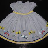 красивое нарядное платье M&S 6-9 мес (до 12 мес отлично) как новое