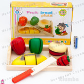 Деревянный набор Резка продуктов на липучках, поднос продукты овощи нож