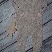 3 года Фирменный человечек флисовый Очень классная вещь слип леопард Carters Картерс