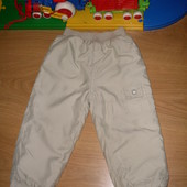 Брендовые теплые штаны на синтепоне, плащевка (р. 92)