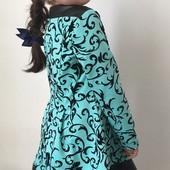Красивое платьице вставка эко кожа коралл, мята и синий