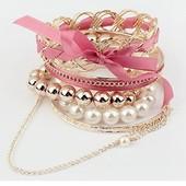 Модный женский браслет Гламур розовый