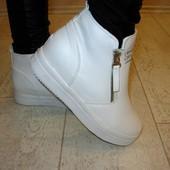 Ботинки белые надпись Д429 р.38