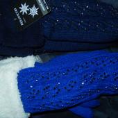 Очень крутые и теплющие рукавички со стразами на меху,50% шерсть,Польша