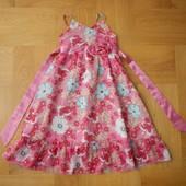 4-5 лет Matalan меганарядное как новое фирменное шифоновое платье. Длина 69 см, ширина под руками -