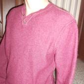 Теплый свитер джемпер мужской из овечей шерсти. Размер М