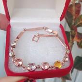 Браслет розовая позолота 18к с цирконием 1111