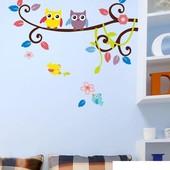 """Интерьерная наклейка """"Веточка с совушками"""". Виниловые наклейки на стену. Декор интерьера"""
