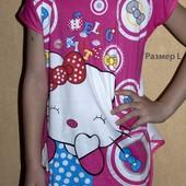 Распродажа! Новая туничка с Китти для девочки 6-7 лет - размер L (128-134), цвет - сиреневый