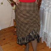 Женская брендовая коричневая юбка в клетку