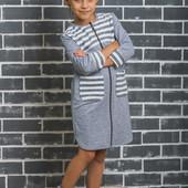 Халат для девочки светло-серый 01330